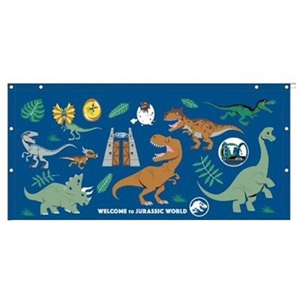 日本服飾代購 - 純棉海灘/游泳浴巾/浴袍 (附釦)-侏羅紀世界-深藍 (長60cm(幼稚園~國小低年級))