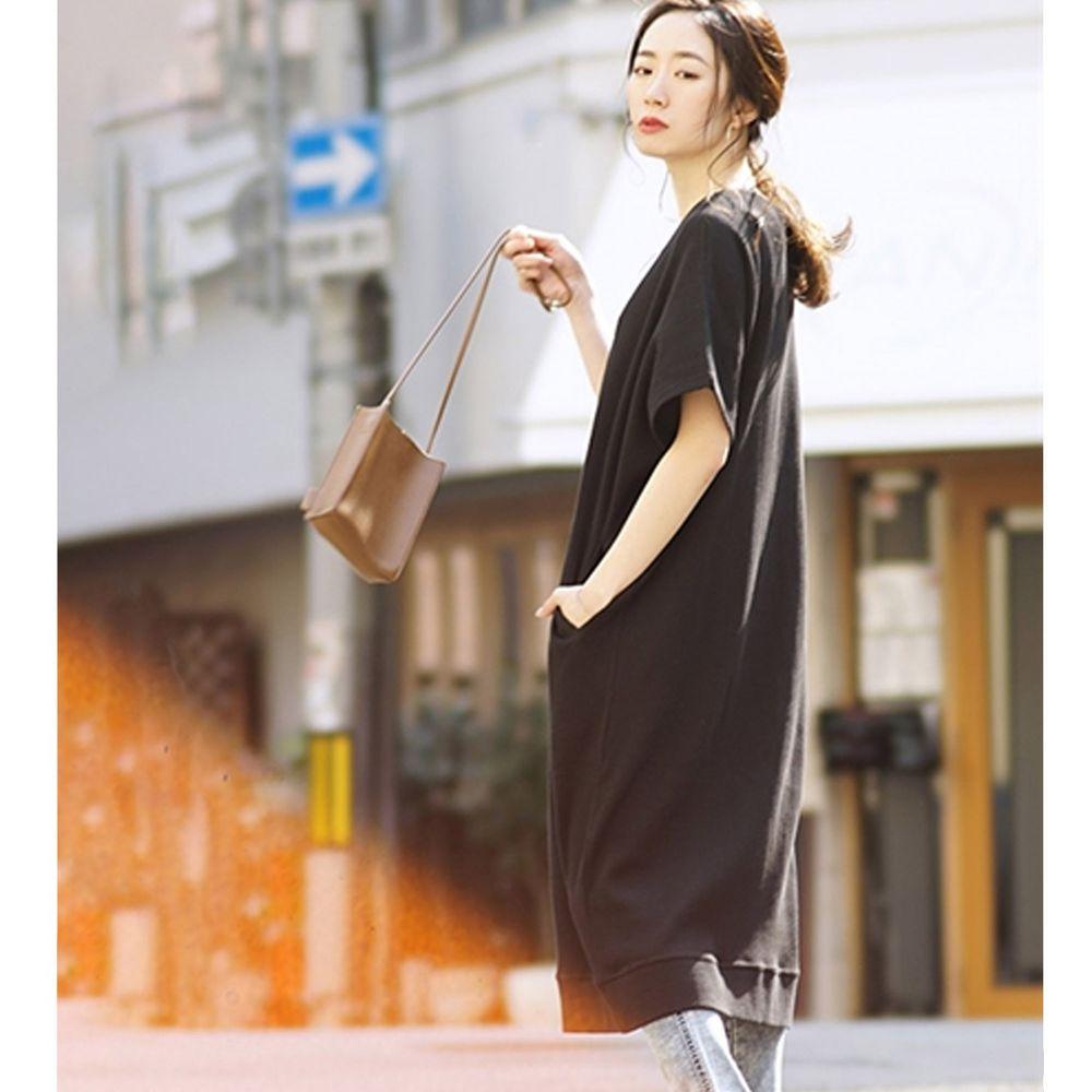 日本 zootie - 純棉 顯瘦鬆餅紋五分袖洋裝-黑 (Free)