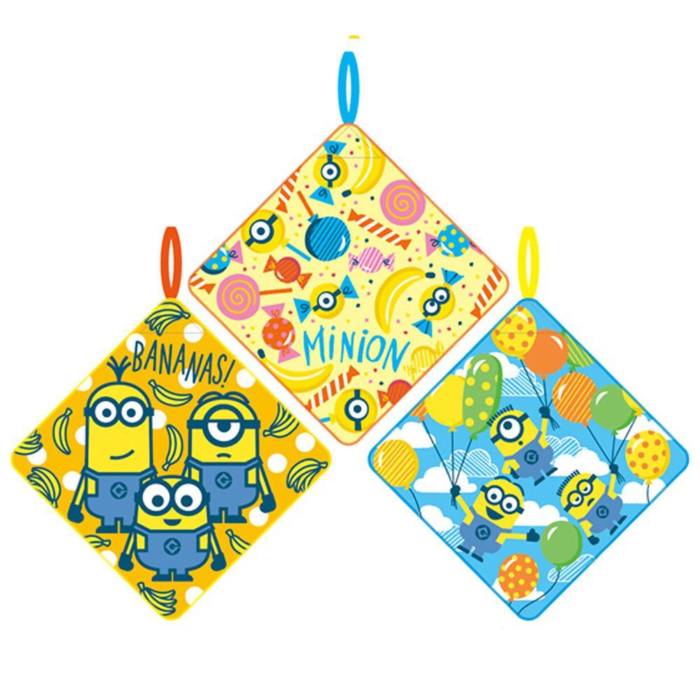 日本代購 - 卡通可掛式方巾/擦手巾三件組-小小兵派對 (28x28cm)