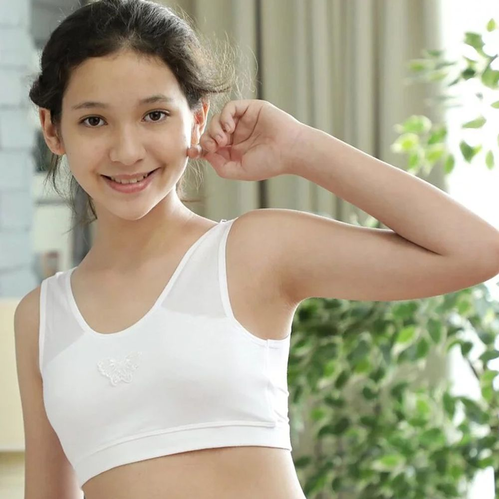 Annypepe - 學生成長型95%天絲背心內衣-白-不含胸墊