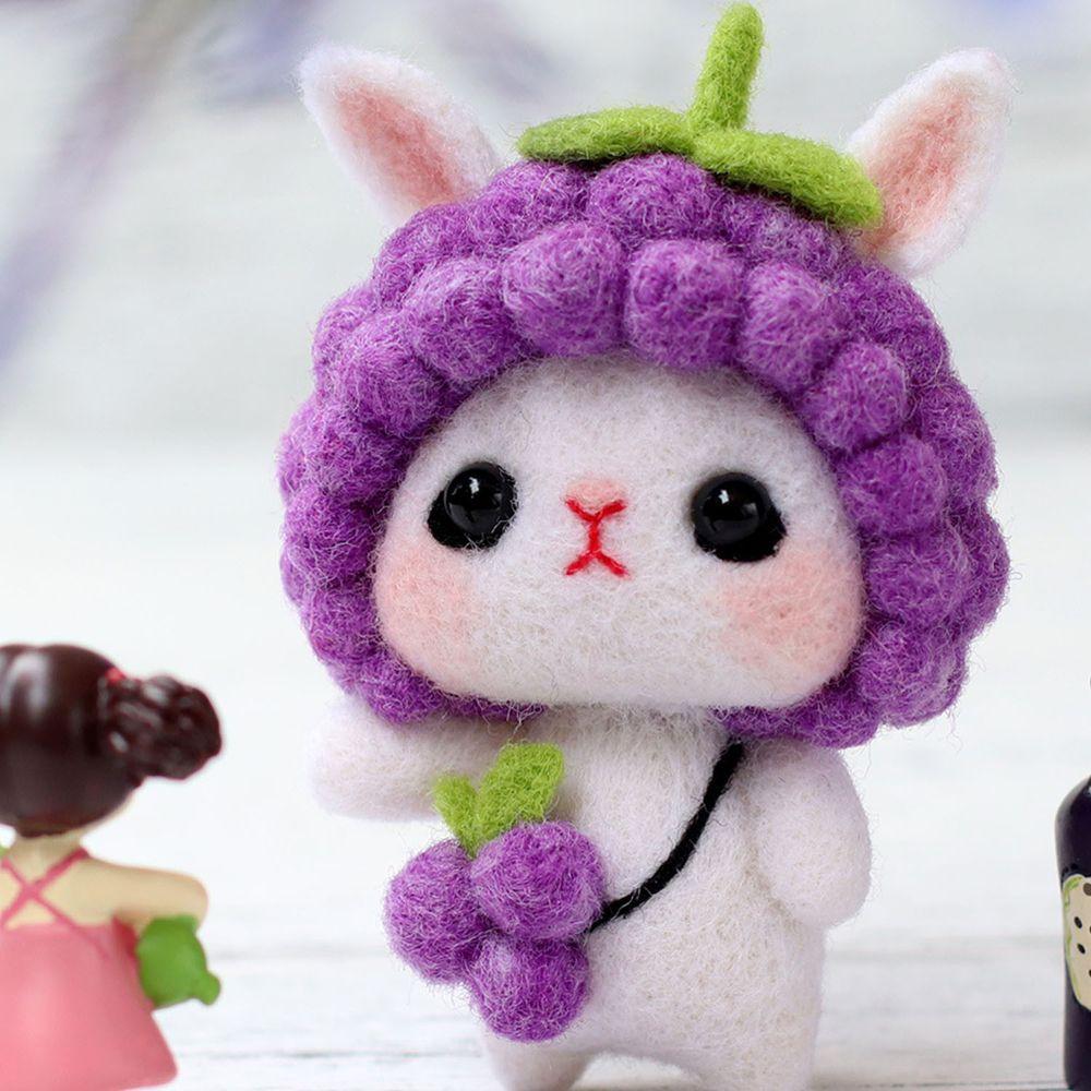 Diy療癒兔子羊毛氈戳戳樂材料包-紫色兔兔