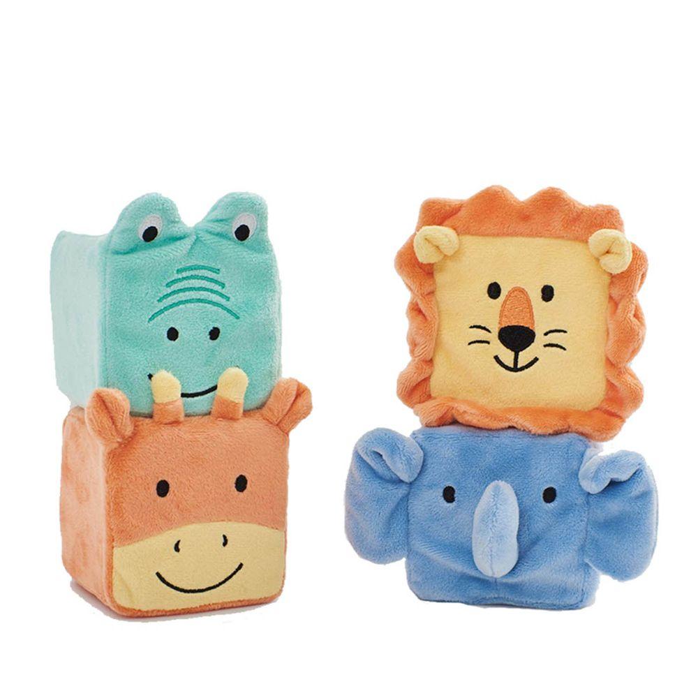 英國 JoJo Maman BeBe - 安撫玩偶_布玩系列-動物方塊疊疊樂