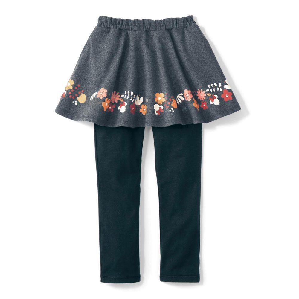 日本千趣會 - 迪士尼印花內搭褲裙-米妮花朵-深灰