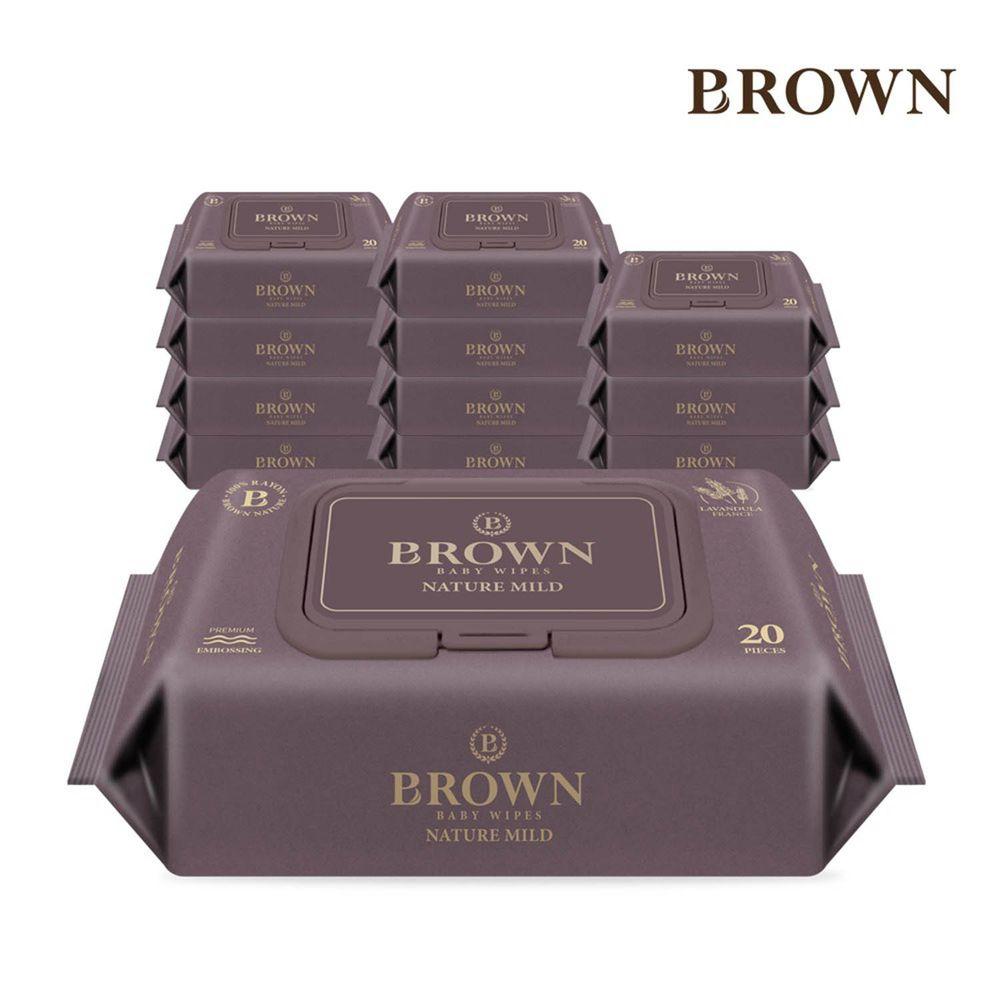 韓國BROWN - NATURE MILD 濕紙巾-薰衣草20抽(含蓋)*12包