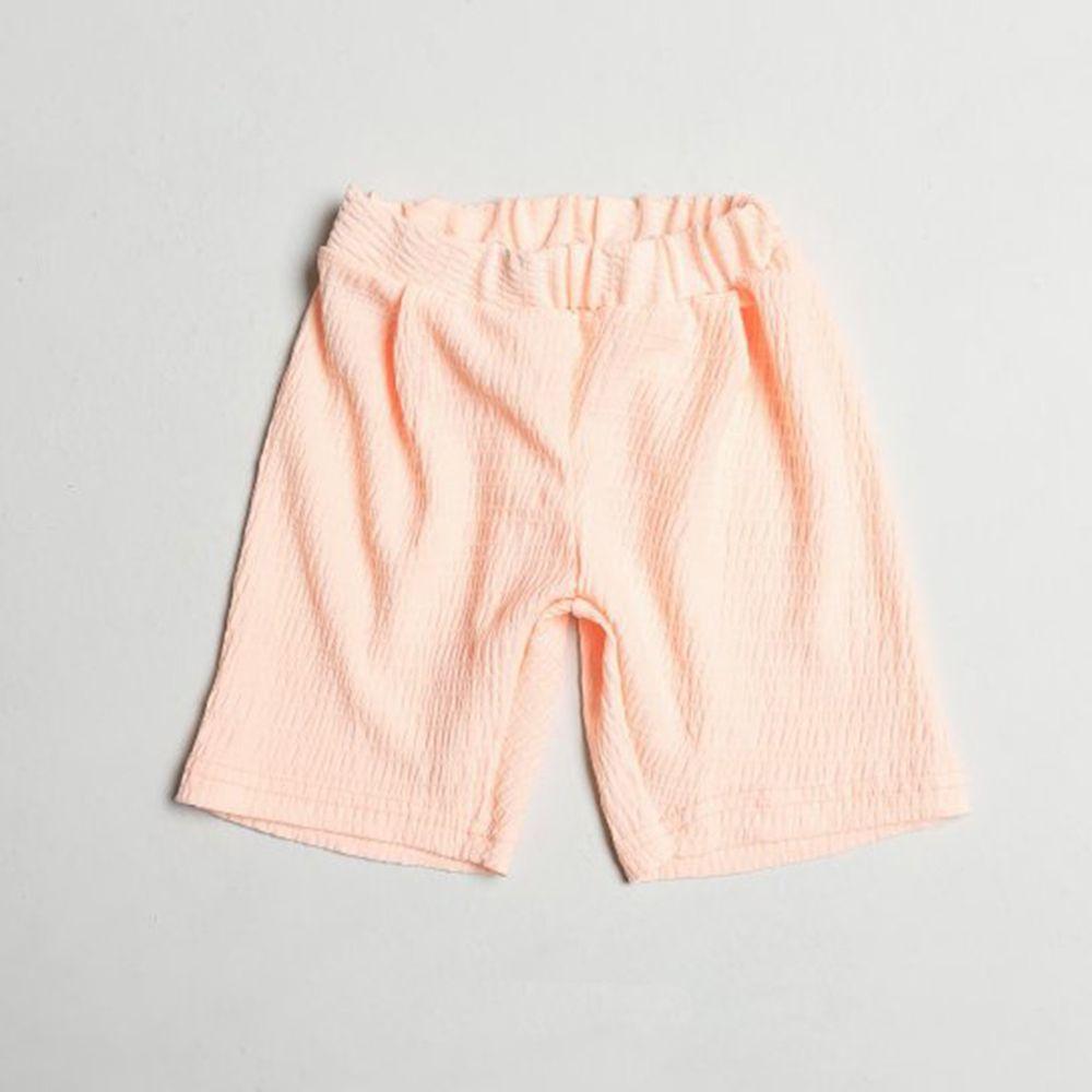 韓國製 - 皺摺感涼感短褲-蜜桃粉