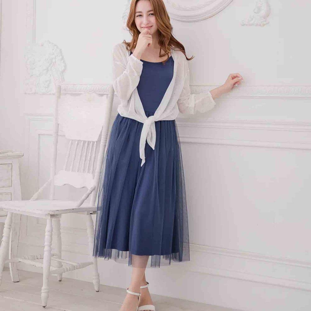 Peachy - 獨家訂製綿柔連身紗裙-細肩帶連身款-午夜藍 (F)
