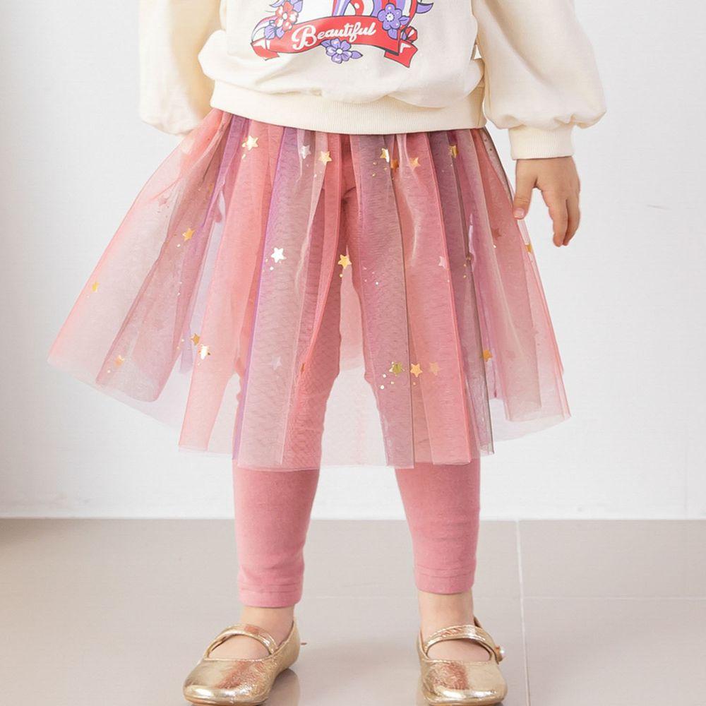 韓國 ERU - 漸層彩虹網紗褲裙-粉紅
