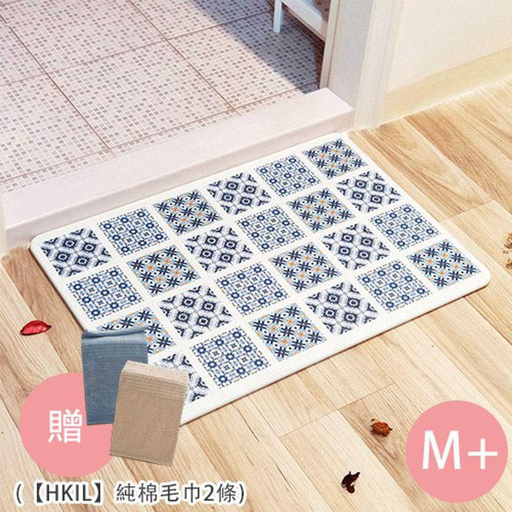 MBM - 第二代水洗式高效吸水地墊-花磚款-復古映像M+ (贈【HKIL】純棉毛巾2條) (50cmx35cmx12mm)