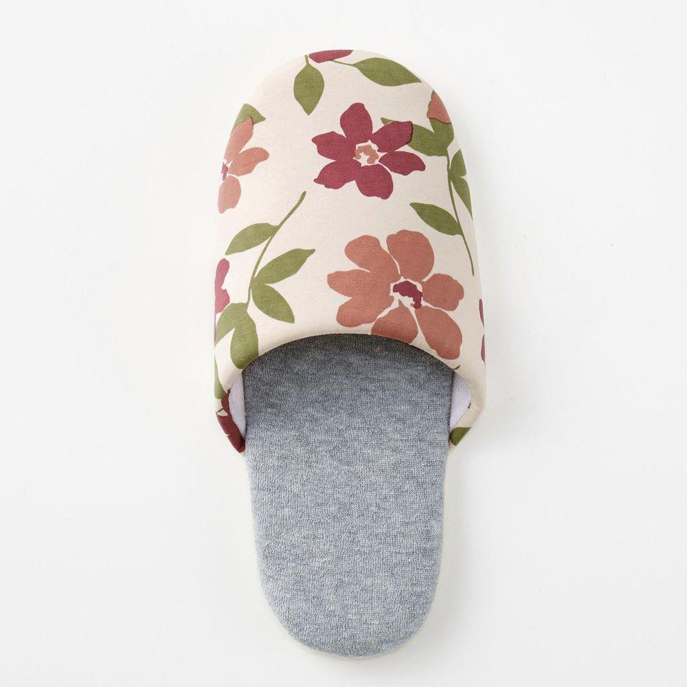 日本千趣會 - 印花室內拖鞋-粉綠花園-米X灰