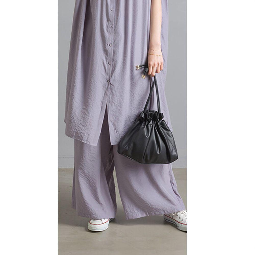 日本女裝代購 - 仙氣飄飄光澤感綁帶寬褲-薰衣草 (Free size)