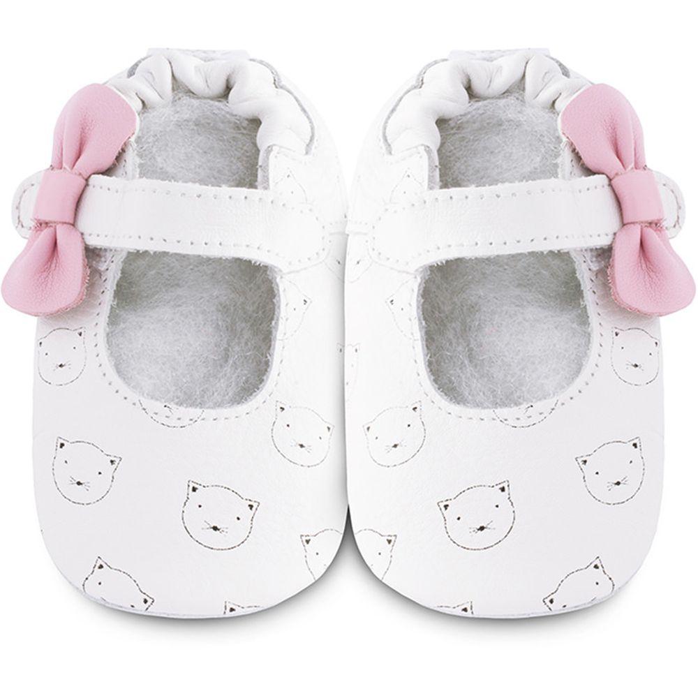 英國 shooshoos - 健康無毒真皮手工鞋/學步鞋/嬰兒鞋/室內鞋/室內保暖鞋-白貓共舞