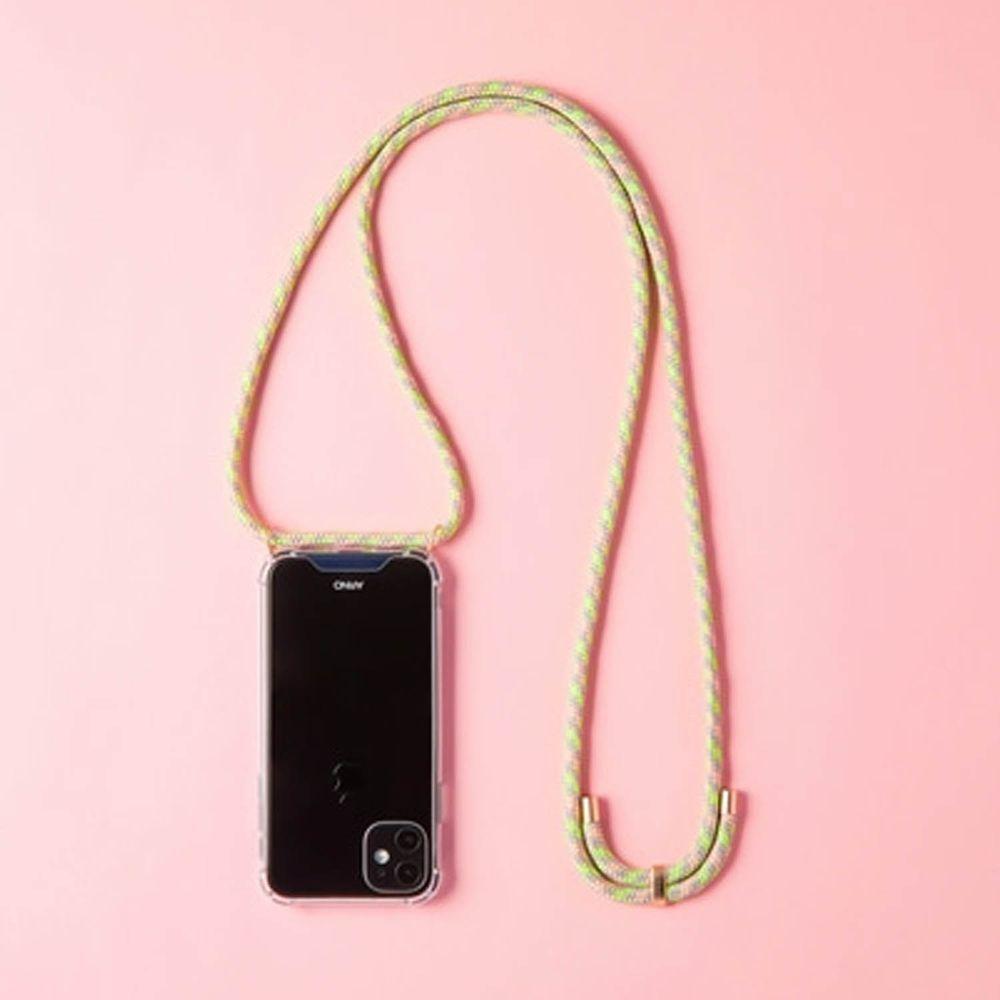 韓國 ARNO - 編繩背帶透明手機殼-蘋果綠