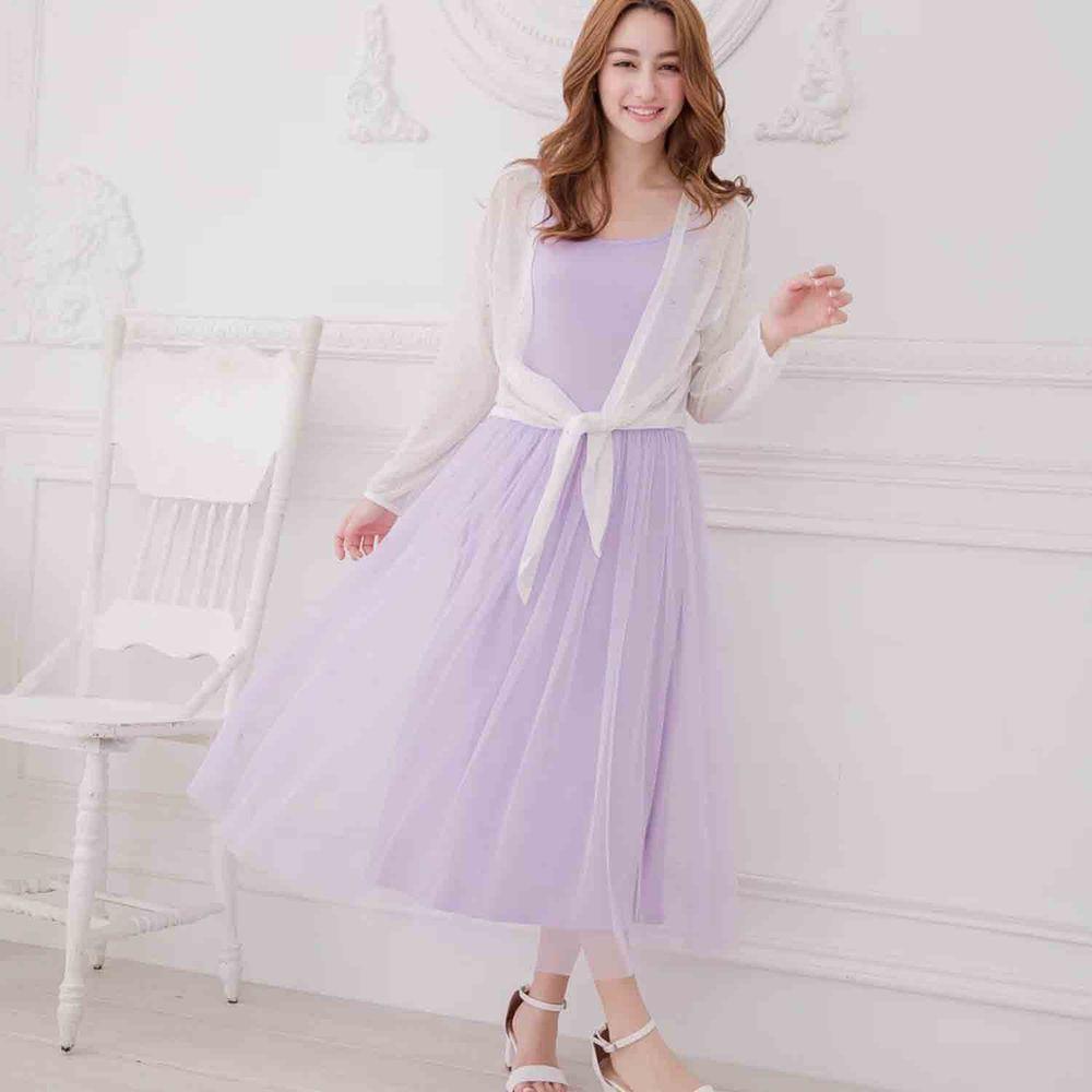 Peachy - 獨家訂製綿柔連身紗裙-細肩帶連身款-薰衣草紫 (F)