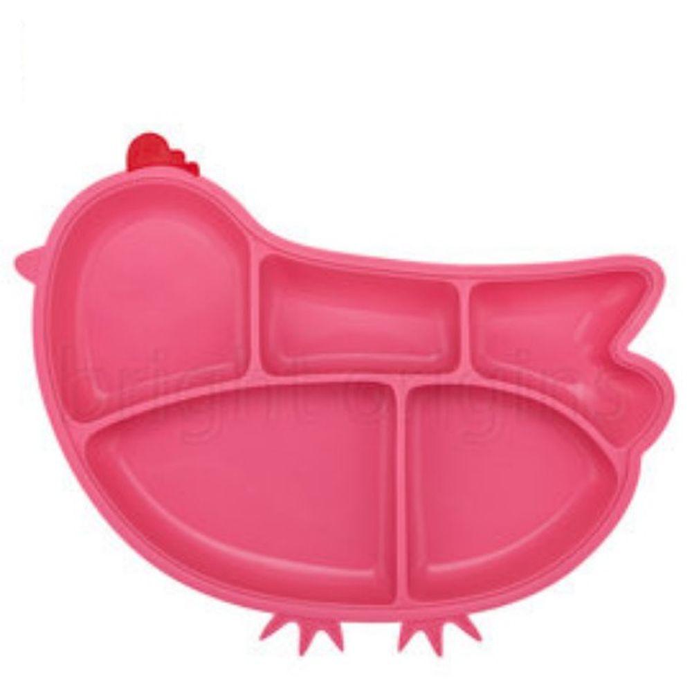 美國Innobaby - 歡樂小雞矽膠防滑餐盤-桃紅