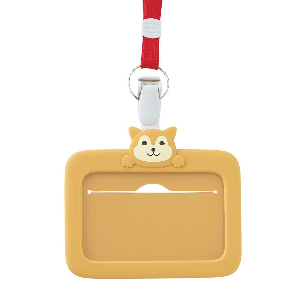日本文具 LIHIT - 2way掛夾兩用矽膠證件套-柴犬