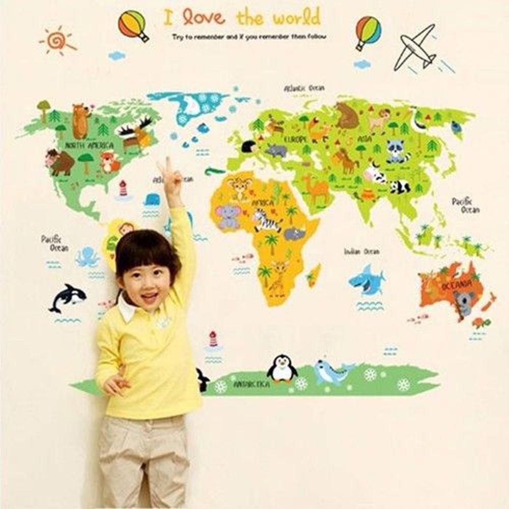 JB Design - 時尚壁貼-卡通世界地圖 (60cm*90cm)