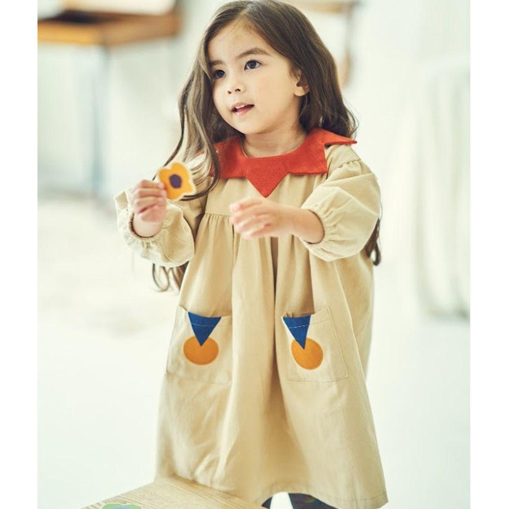 韓國 Mimico - 幾何圖形泡泡袖洋裝-米