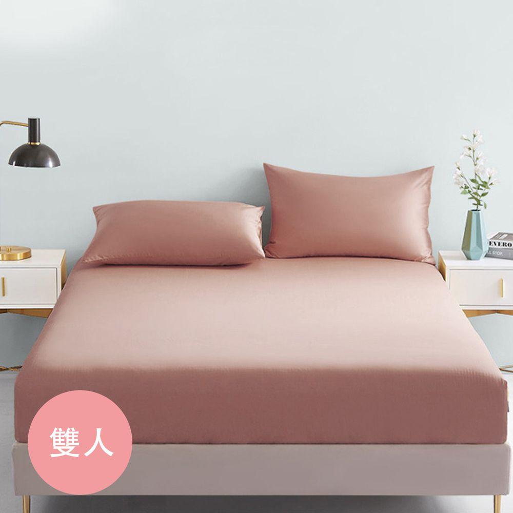 澳洲 Simple Living - 300織台灣製純棉床包枕套組-奶茶棕-雙人