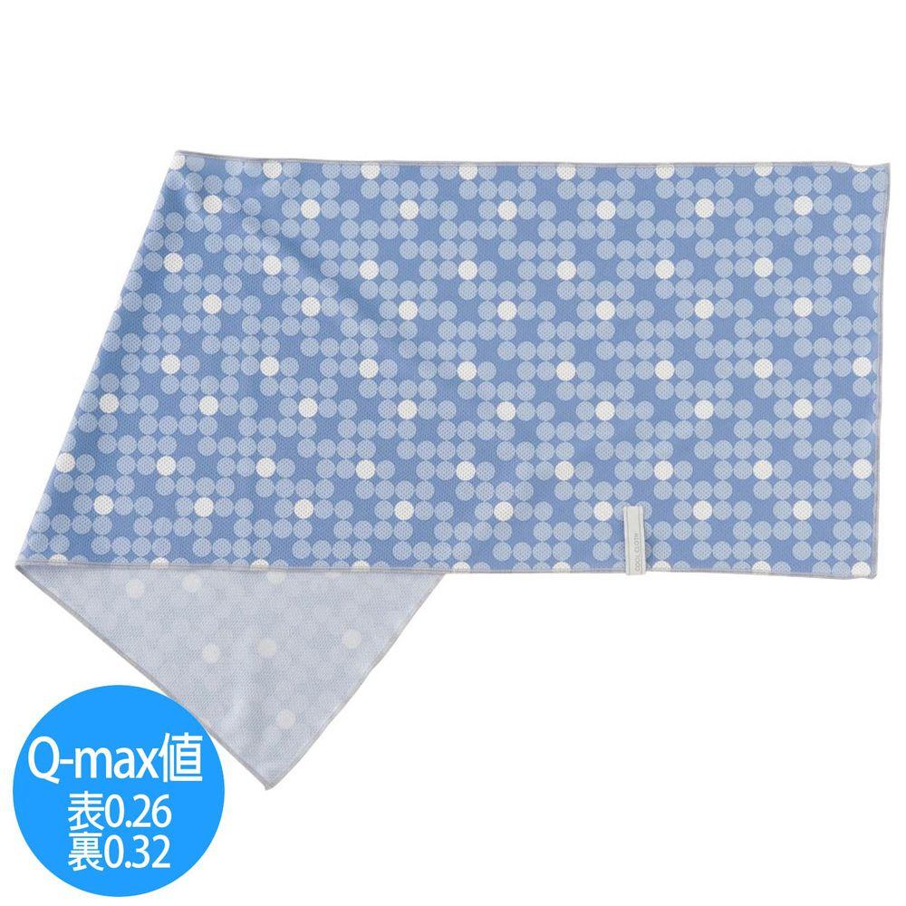 日本小泉 - UV cut 90% 接觸冷感 水涼感巾(附收納袋)-漸層波點-水藍 (30x90cm)