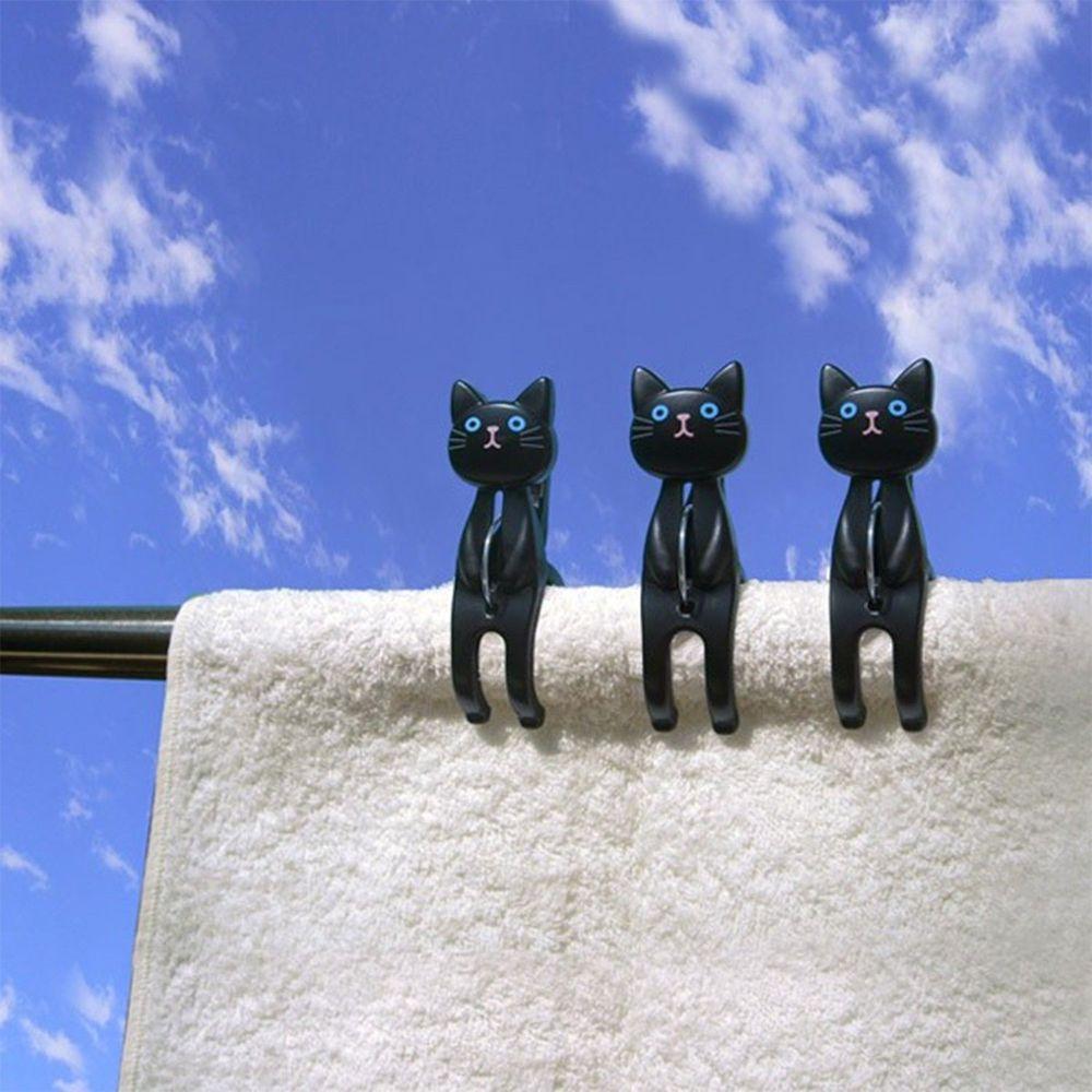 日本 貓尾物語 - 曬衣夾-坐坐貓-黑-3pc