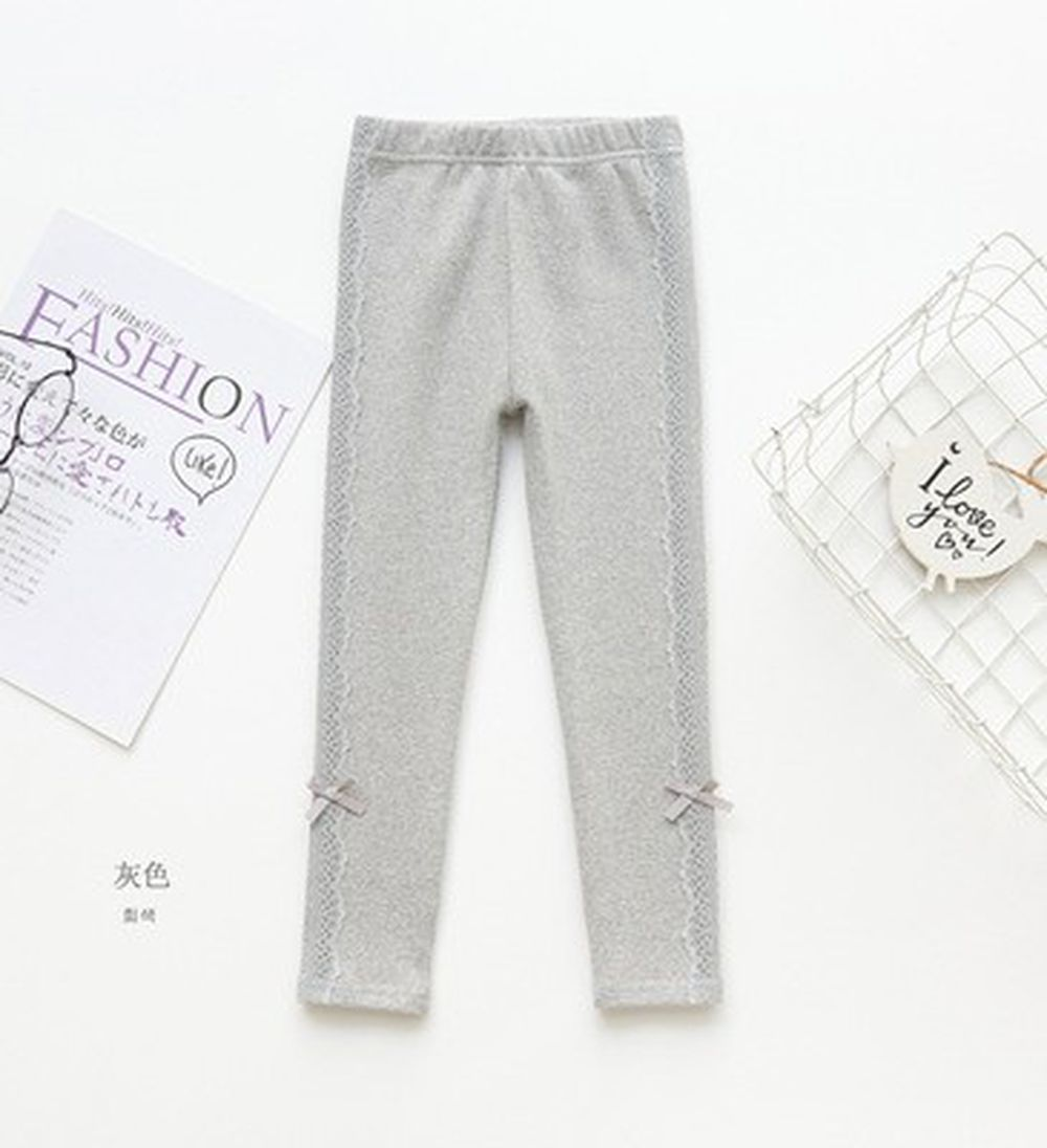 FANMOU - 內搭褲-蕾絲結-灰色