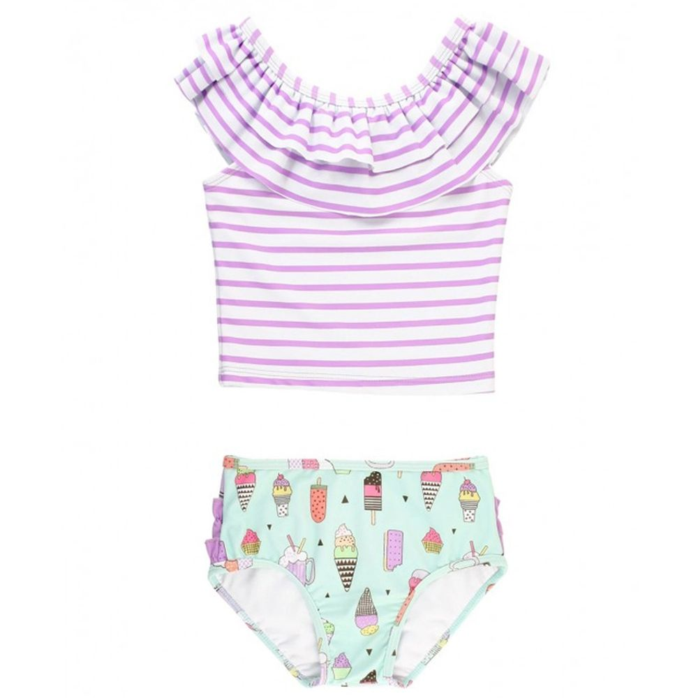 美國 RuffleButts - 小女童UPF 50+防曬兩件式無袖泳裝-紫色派對