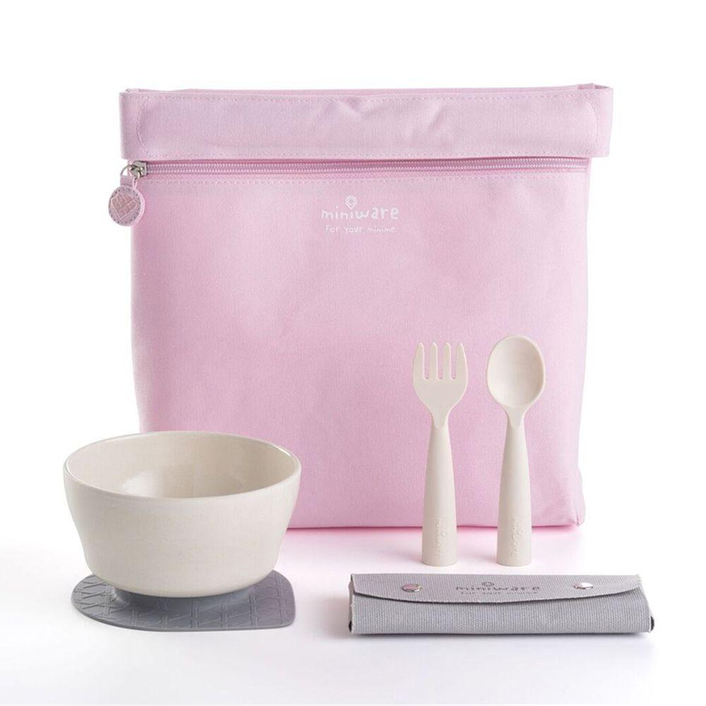 美國Miniware - 天然寶貝兒童餐具-My First! 旅行餐具組-牛奶櫻花粉-竹纖維麥片碗-牛奶麥片*1 矽膠防滑吸盤*1 My First!叉匙組*1 寶貝收納袋-櫻花粉*1