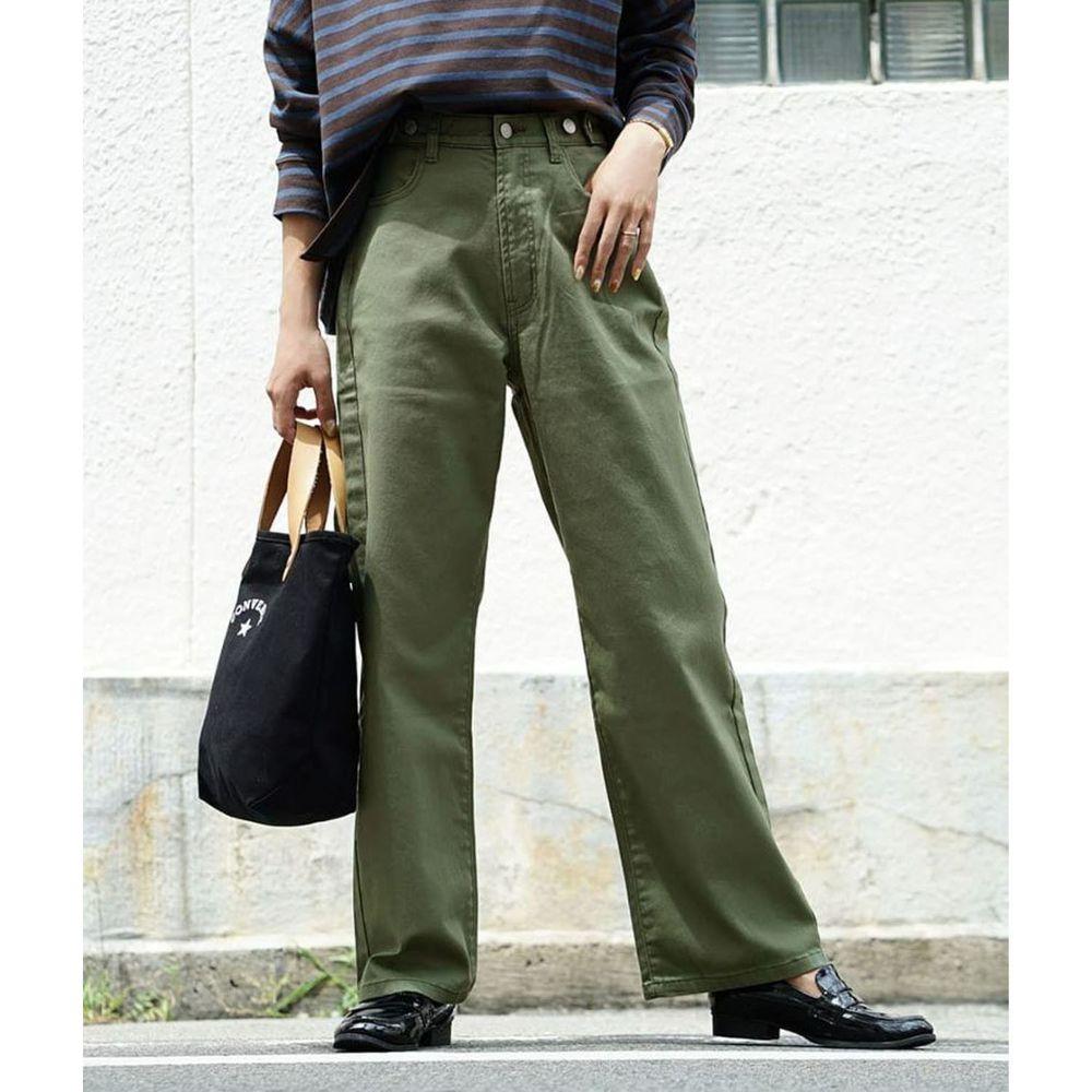 日本 zootie - 直筒百搭寬褲(腰圍可調節)-墨綠
