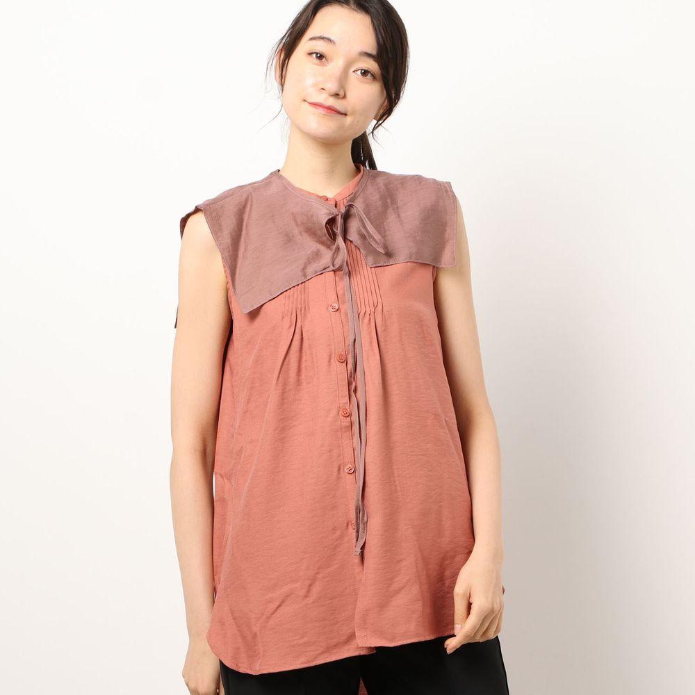 日本 Riche Glamour - 輕薄無袖襯衫+綁帶大領片兩件組-磚橘