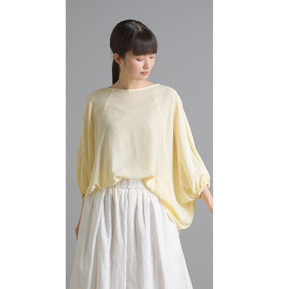 日本 OMNES - 仙氣飄飄光澤感七分袖上衣-鵝黃 (Free size)