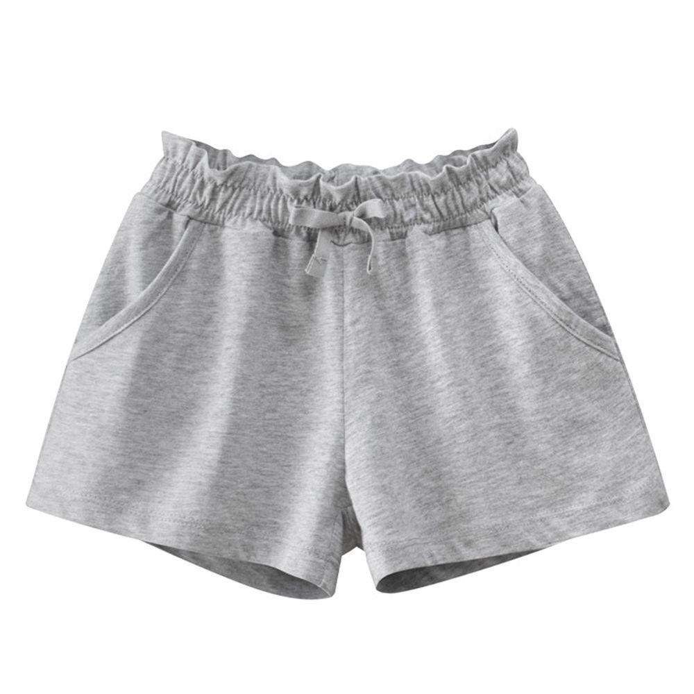 花邊鬆緊純棉短褲-灰色