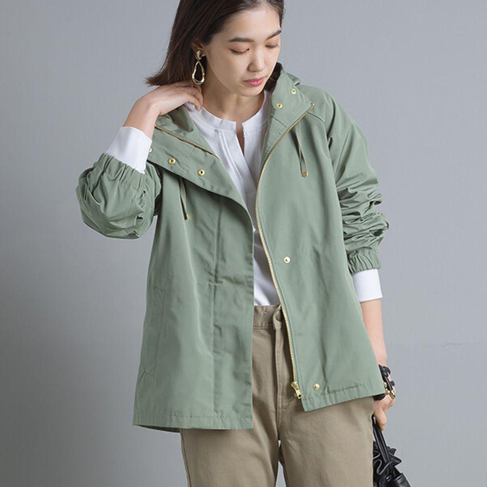日本 OMNES - 撥水加工機能風衣連帽外套-莫蘭迪綠 (M)