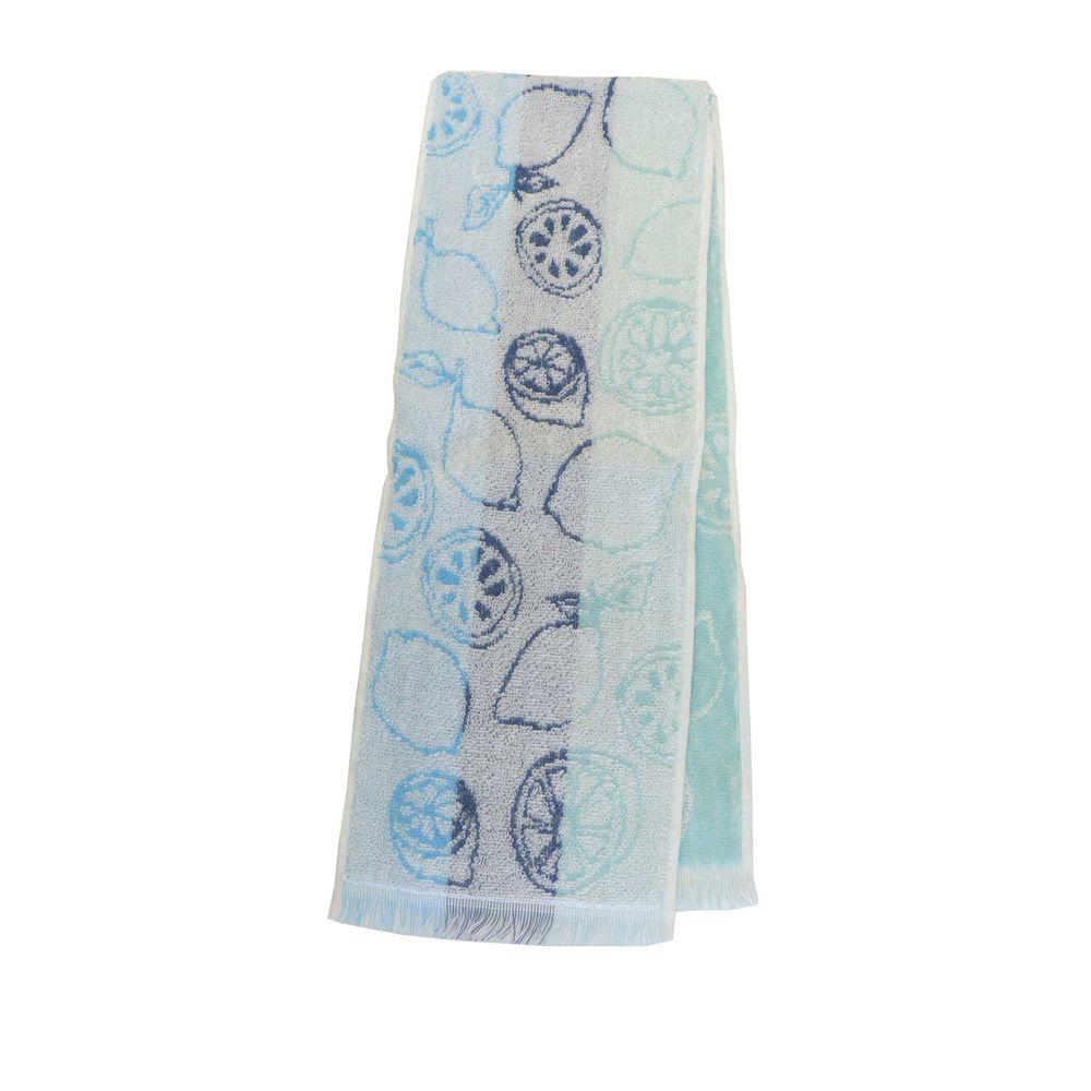 日本涼感雜貨 - 日本製 Eco de COOL 接觸冷感長毛巾-檸檬-水藍 (90x16cm)