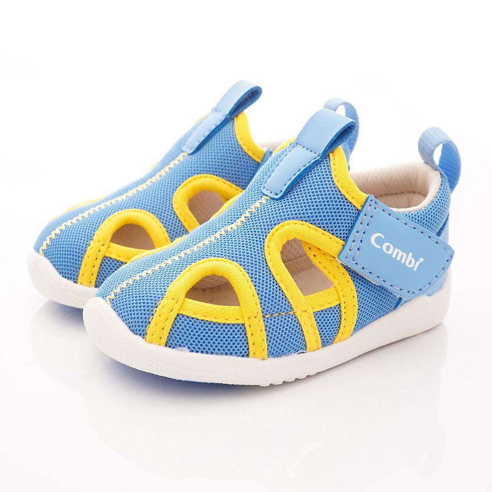 日本 Combi - 機能童鞋/學步鞋-護趾透氣學步涼鞋(寶寶段)-藍