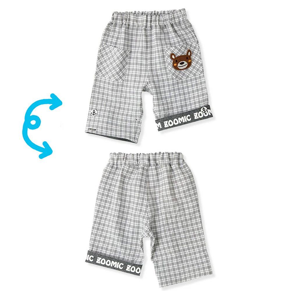 日本 ZOOLAND - 2way動物格紋五分褲-小熊-灰