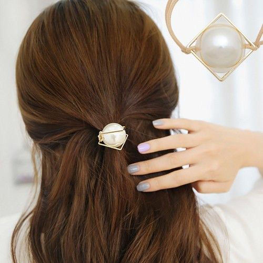 韓國 Soo&Soo - 方框珍珠髮圈