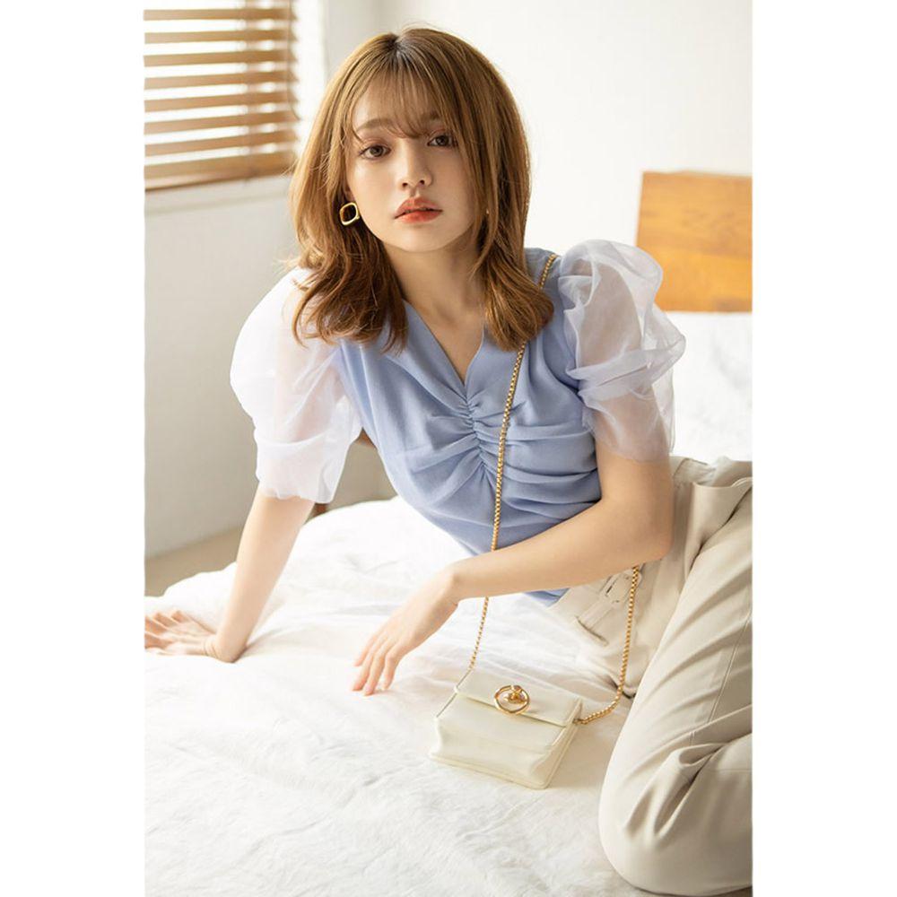 日本 GRL - 浪漫薄紗抓皺V領短袖上衣-天使藍 (F)
