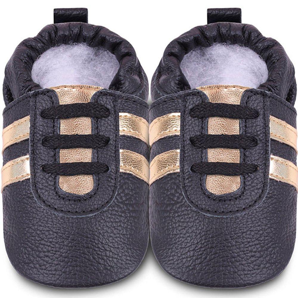 英國 shooshoos - 健康無毒真皮手工鞋/學步鞋/嬰兒鞋/室內鞋/室內保暖鞋-黑色金鞋帶運動型