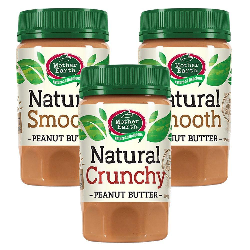 壽滿趣 - 紐西蘭Mother Earth超級花生醬3瓶組-絲滑2+顆粒1 (380gx3)
