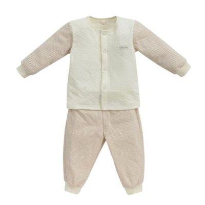 經典條紋系列-有機棉長袖前開套裝-秋冬款-粉紅