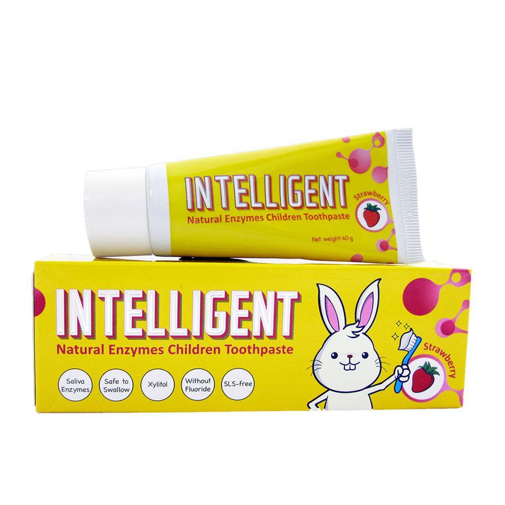 因特力淨 INTELLIGENT - 兒童酵素牙膏(0歲以上,無氟,可吞食)-草莓優格-40g