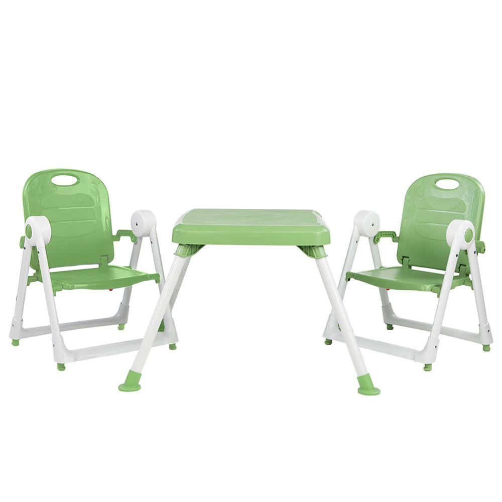 美國 ZOE - 兩椅一桌雙人組合-附白色小餐盤-抹茶綠