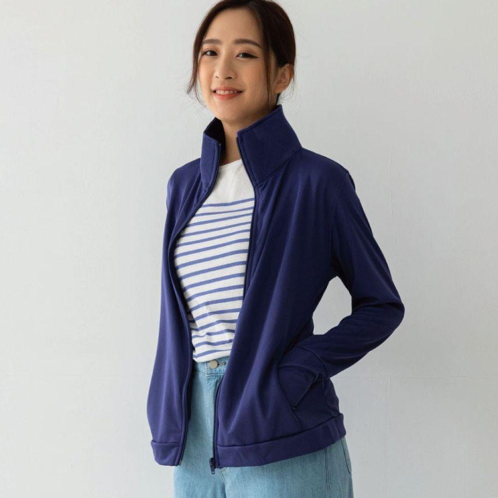 貝柔 Peilou - UPF50+高透氣防曬顯瘦外套-女立領-丈青色