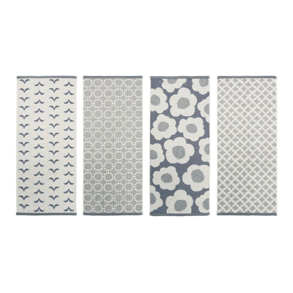 日本千趣會 - 北歐風圖騰純棉長毛巾四入組-灰色系 (34x80cm)