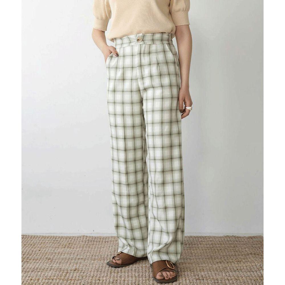 日本 Bou Jeloud - 格紋後腰伸縮寬褲-綠灰