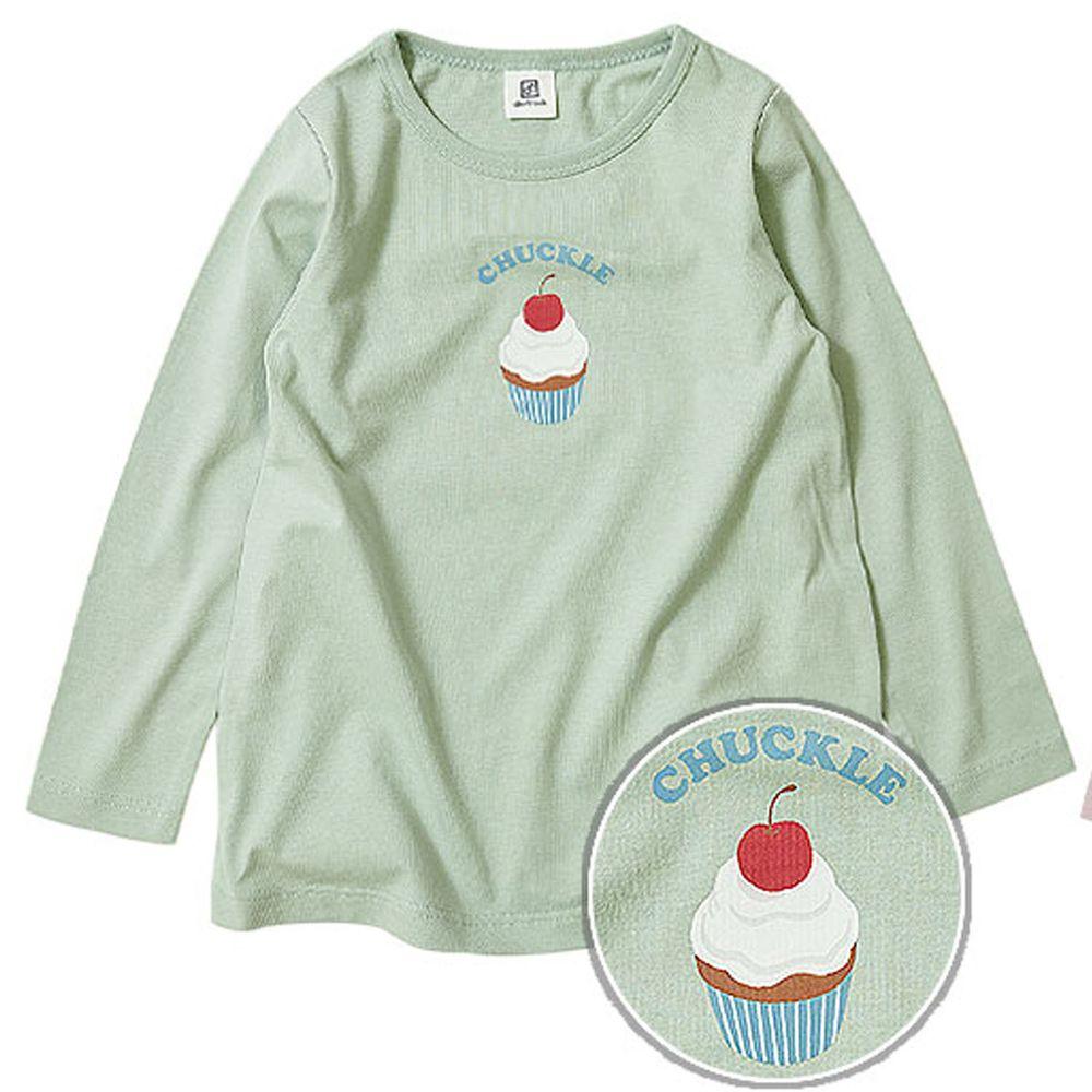 日本 devirock - 純棉 定番百搭印花長T-杯子蛋糕-薄荷