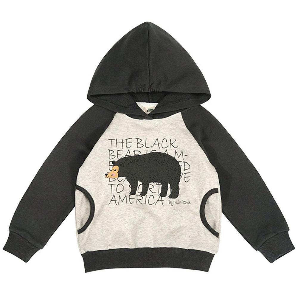Minizone - 字母動物長袖帽T-深灰熊熊