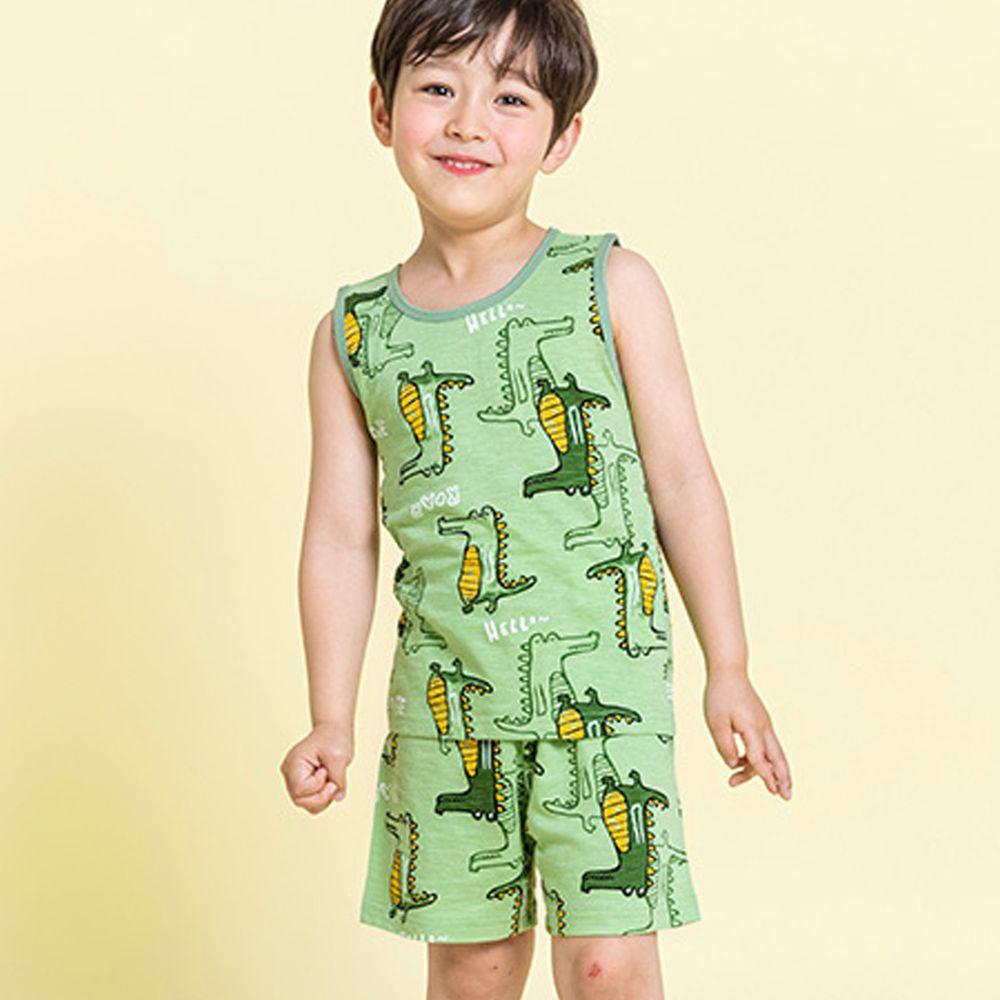 韓國 Maykids - 有機棉細柔無袖家居服-綠色恐龍