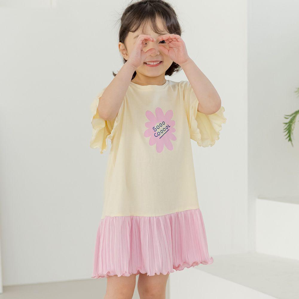 韓國 Orange Mom - 一朵花皺摺裙擺拼接洋裝-鵝黃