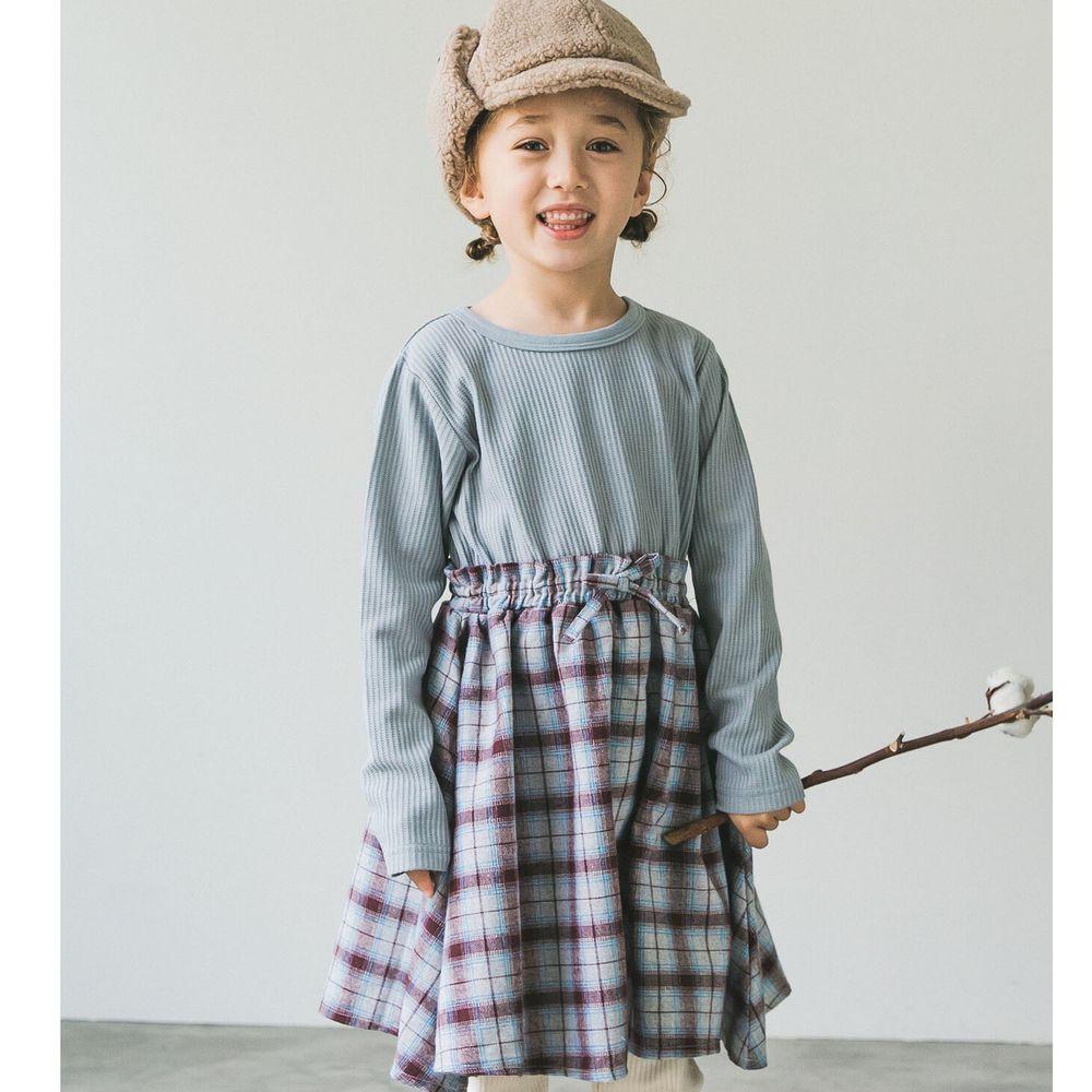 日本 PAIRMANON - 上下拼接鬆餅紋長袖洋裝-格紋-灰藍X紫